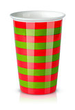 Red and green striped cup without handle