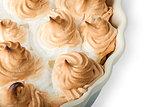 Closeup lemon pie with meringue on dish