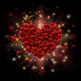 Shining Heart February 14. Love romantic 3D Realistic Red Hearts Background with Happy Valentines Day. Vector Illustration
