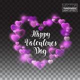 Shining heart with pink lights. Valentine. Vector Illustration on transparent background