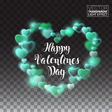 Shining heart with turquoise lights. valentines day. Vector Illustration on transparent background