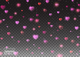 De focused and glittering separated elements. Valentines day background with bokeh effect falling hearts and confetti on transparent background. Vector illustration