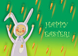 Happy Easter greeting card with rabbit boy