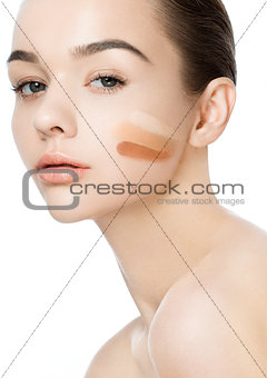 Beauty portrait with foundation stripes makeup
