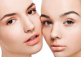 Two beautiful models with natural beauty makeup