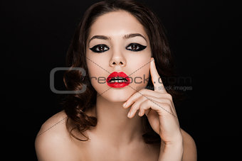 Beauty black stripes  eyes and red lips makeup