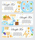 Happy Passover. Jewish holiday banner template for your design. Horizontal Border set. Vector illustration.