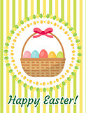 Happy Easter greeting card, flyer, poster with a basket of eggs. Spring cute template for your design. Vector illustration.