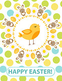 Happy Easter greeting card, flyer, poster with yellow chick. Spring cute template for your design. Vector illustration.