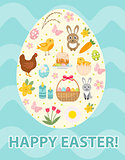 Happy Easter greeting card, flyer, poster with a set icons, symbols of Easter. Spring cute template for your design. Vector illustration.