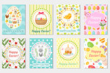 Happy Easter greeting card collection, flyer, poster. Spring cute set of templates for your design. Vector illustration