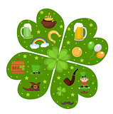 St. Patricks Day icon set in clover-shape design element. Traditional irish symbols in modern flat style. Isolated on white background. Vector illustration, clip art.