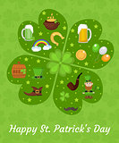 Happy St. Patricks Day greeting card template, invitation, poster for your design. Vector illustration.