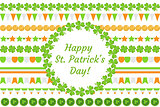 St. Patrick's Day border garland with clover, shamrock, flags, bunting. Isolated on white background. Vector illustration, clip art.