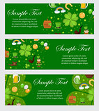 St. Patrick's Day banner template for your design. Horizontal Border set. Vector illustration.