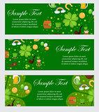 St. Patrick's Day banner template for your design. Horizontal Border set. Vector illustration.