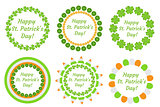 St. Patrick's Day round frame with clover, shamrock, flags, bunting. Isolated on white background. Vector illustration, clip art.