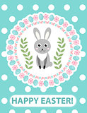 Happy Easter greeting card, flyer, poster with rabbit, bunny. Spring cute template for your design. Vector illustration.