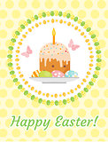 Happy Easter greeting card, flyer, poster with Easter cake and eggs. Spring cute template for your design. Vector illustration.