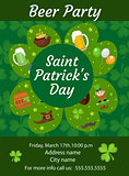Happy St. Patrick's Day invitation, poster, flyer. Beer Party template for your design. Vector illustration.