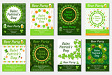 Collection of St. Patrick's Day invitation, poster, flyer. Beer Party set a template for your design with clover, shamrock. Vector illustration.