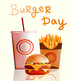 Vector illustration, banner, burger, fries, cola, fast food .