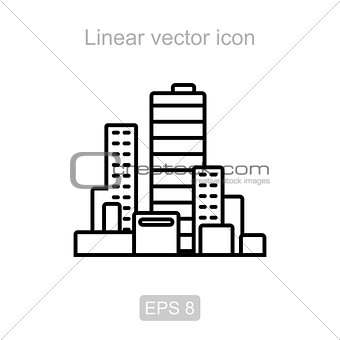 City. Linear vector icon.