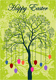 Easter greeting card, eggs on the branch