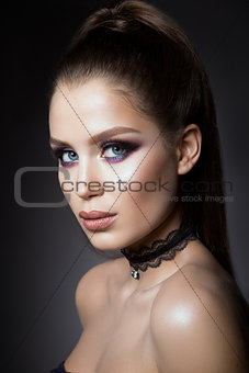 Beautiful  girl with bright make up