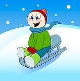Funny boy rides in a sleigh. Cartoon vector illustration.