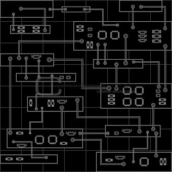 Circuit board vector background . Abstract vector black background with high tech circuit board, graphic . Eps 10 vector illustration