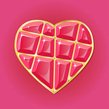 Diamond heart on pink background