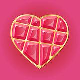 Diamond heart on pink background
