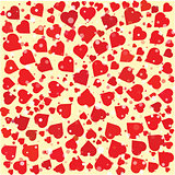 Hearts diferent size and color round background template.