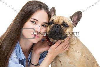 Beautiful girl with french bulldog