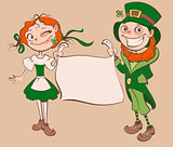 St. Patricks Day Festival. Young woman and man holding banner