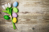 Easter eggs with bunch tulips copyspace