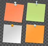 Set of paper stickers for notes and pushpin on transparent background