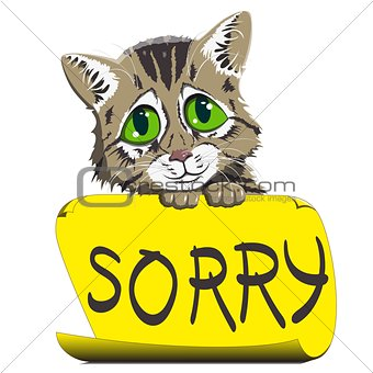 kitten with a sign asking for forgiveness