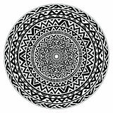 Vector tribal folk aztec geometric pattern in circle
