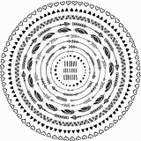 Hand drawn ethnic circles frames. Editable Pattern Brushes