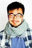 young handsome asian man hipster in glasses on white background