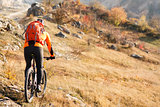 cyclist with a backpack on mountainbike back view