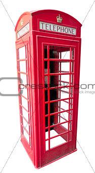 british red telephone box isolated on white
