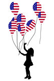 Girl silhouette with US patriotic balloons