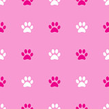 Animal paw seamless pink pattern