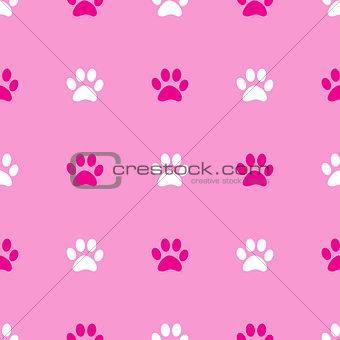 Animal paw seamless pink pattern