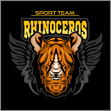 Rhino athletic design complete with rhinoceros mascot vector illustration