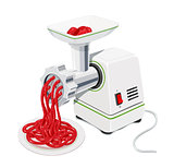 Electric Meat grinder with mincemeat . Kitchen equipment.