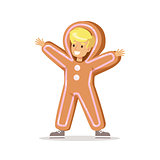 Boy In Ginger Bread Man Outfit Dressed As Winter Holidays Symbol For The Costume Christmas Carnival Party